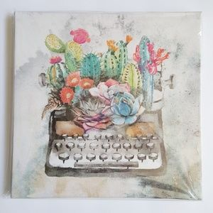 Other - HP💖 Vintage Typewriter Succulents Canvas Wall Art